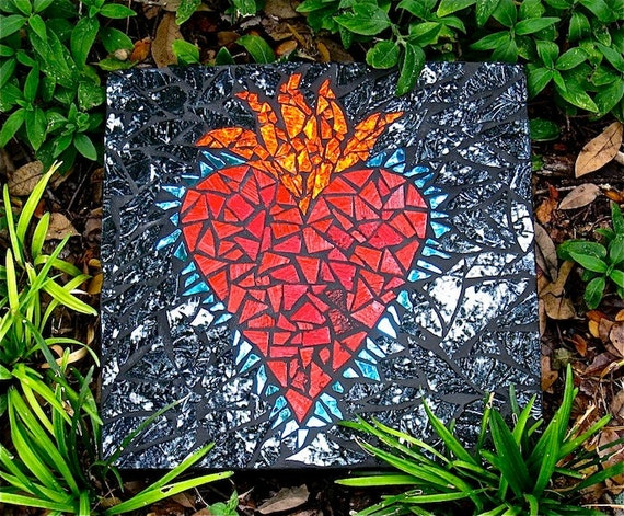 Heart and Spiral Mosaic Stepping Stones: Reserved