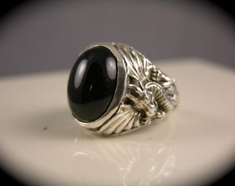 Sterling Silver Black Onyx Mythical Dragon Ring