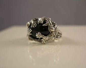 Sterling Silver Black Onyx Dragon Ring