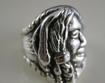 Sterling Silver Apache Native American Head Ring Size 10