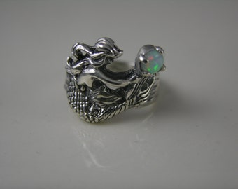 Size 6.5 Sterling Silver Mermaid Ring with Lab/Opal Stone