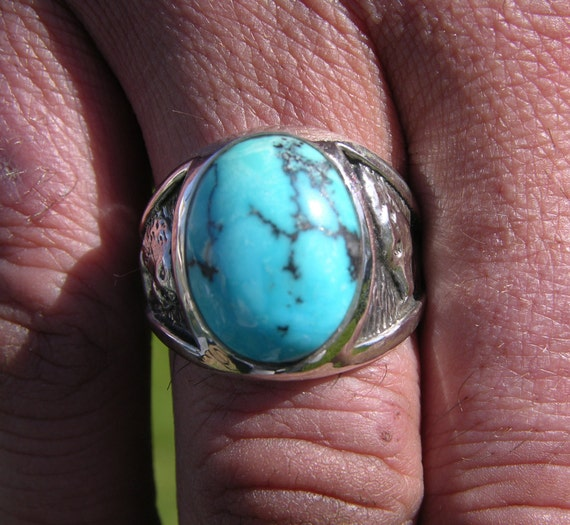 Turquoise Sterling Ring with Wolf and the Walrus