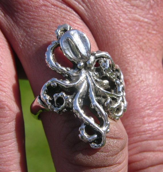 sterling silver octopus ring