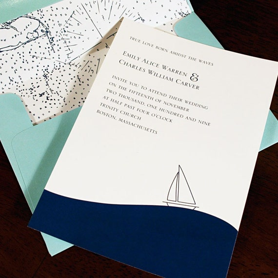 Sample Wedding Invitation Set Nautical By Pasaiipaperie On