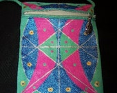 Shoulder bag-small metalic pink and aqua