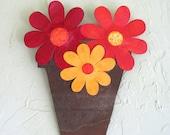 Spring Flower Pot Metal Wall Sculpture Signed Original