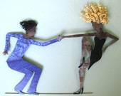 Metal art decor - Jazz Dancers Wall Hanging Metal Wall Sculpture  Original Painted Art