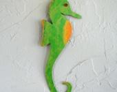 Seahorse Original Tropical Wall Art Hanging Handmade from Repurposed Metal Hand Painted Green