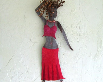 Metal Wall Art Belly Dancer Sculpture Red Recycled Metal Exotic Dancer Wall Art 8 x 20 Made To Order