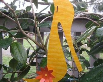 Garden Art - Shoe - Handmade Recycled Metal Stake - Yellow Orange