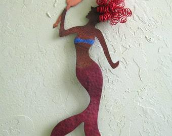 Mermaid metal wall art - Vanessa - handmade metal  hand painted Wall Hanging mermaid decor red head