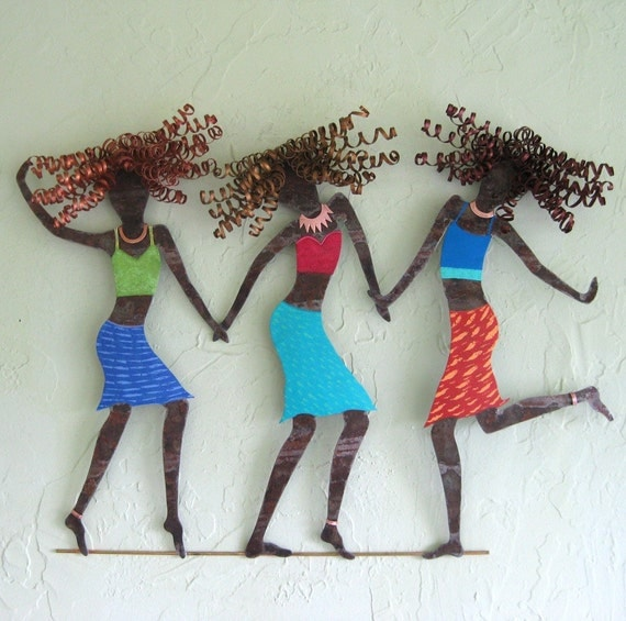 Girls Just Want To Have Fun - Trio of Gals Metal Wall Sculpture Signed Original