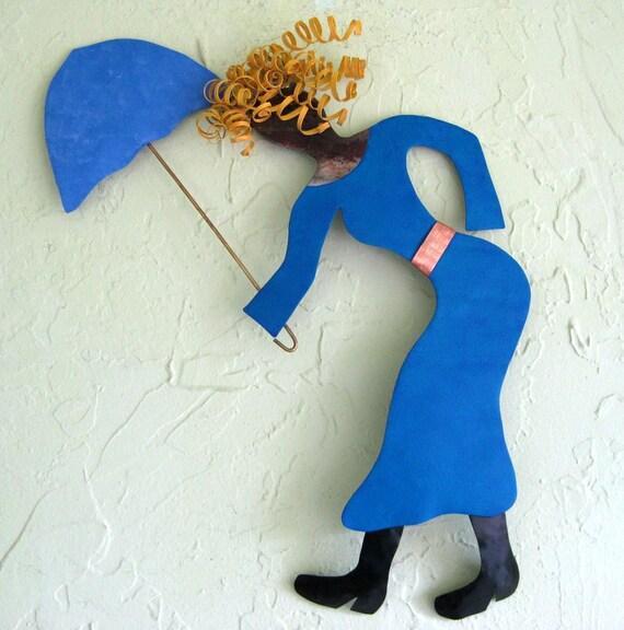 SALE - Umbrella Gal - Metal Wall Sculpture - Signed Original