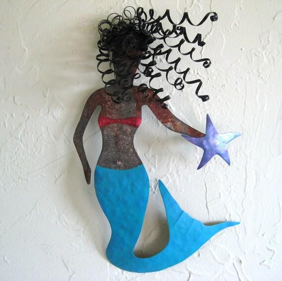 Sale Mystical Mermaid Metal Wall Sculpture Signed