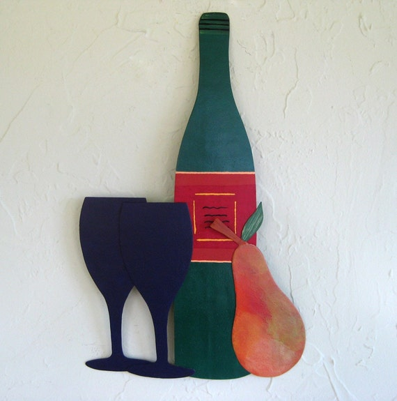 Wine and Pear Art Hanging - Celebrate - Handmade Recycled Metal Wall sculpture Painting