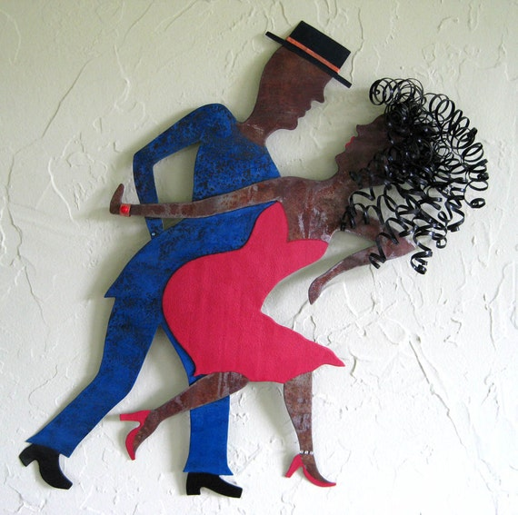 SALE  Art sculpture - Mambo Dancers - Mimi and Ramone -upcycled metal wall hanging