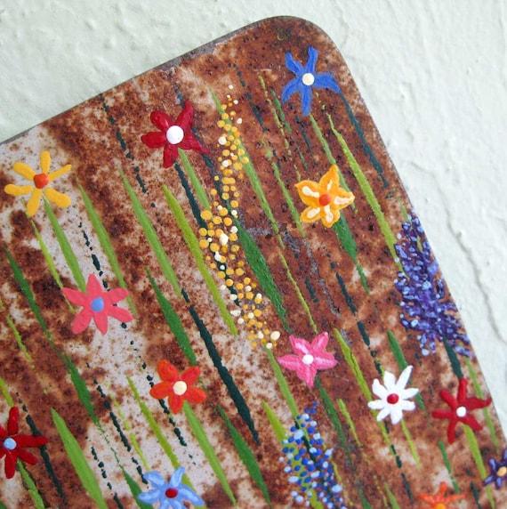 SALE - Flower Garden - Original Painting on Repurposed Metal 6 x 11