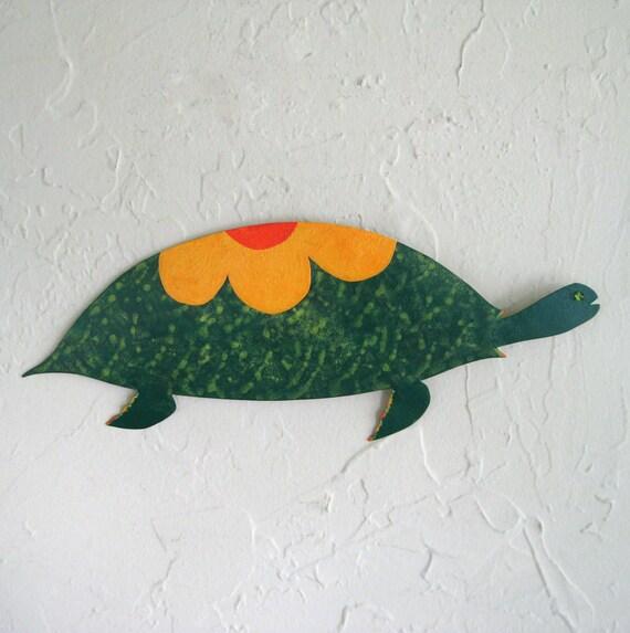 Whimsical Turtle - Charlie -  Metal Wall Hanging Repurposed Metal Sculpture Original Painted Art