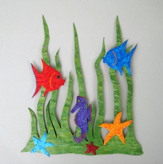 Bathroom art - Sea Garden - Handmade recycled  metal wall sculpture coastal beach house