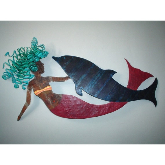 Nora And Walter Mermaid And Dolphin Metal Wall Sculpture