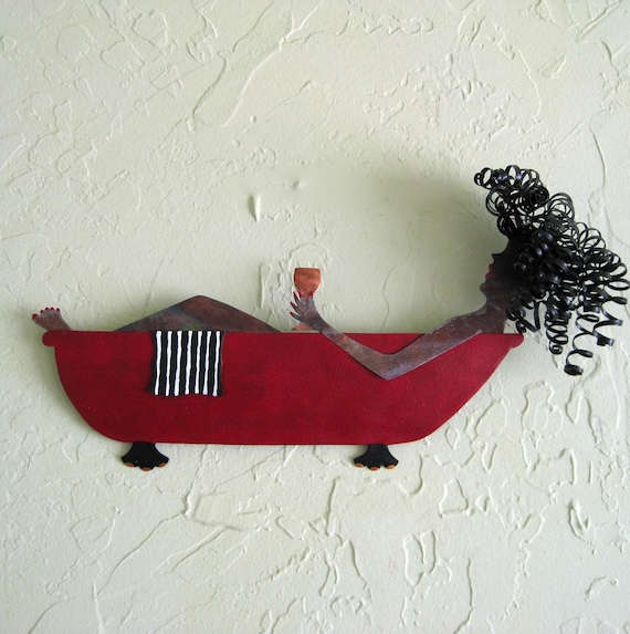 Bathtub Lady with Wine Metal Wall Sculpture Signed Original