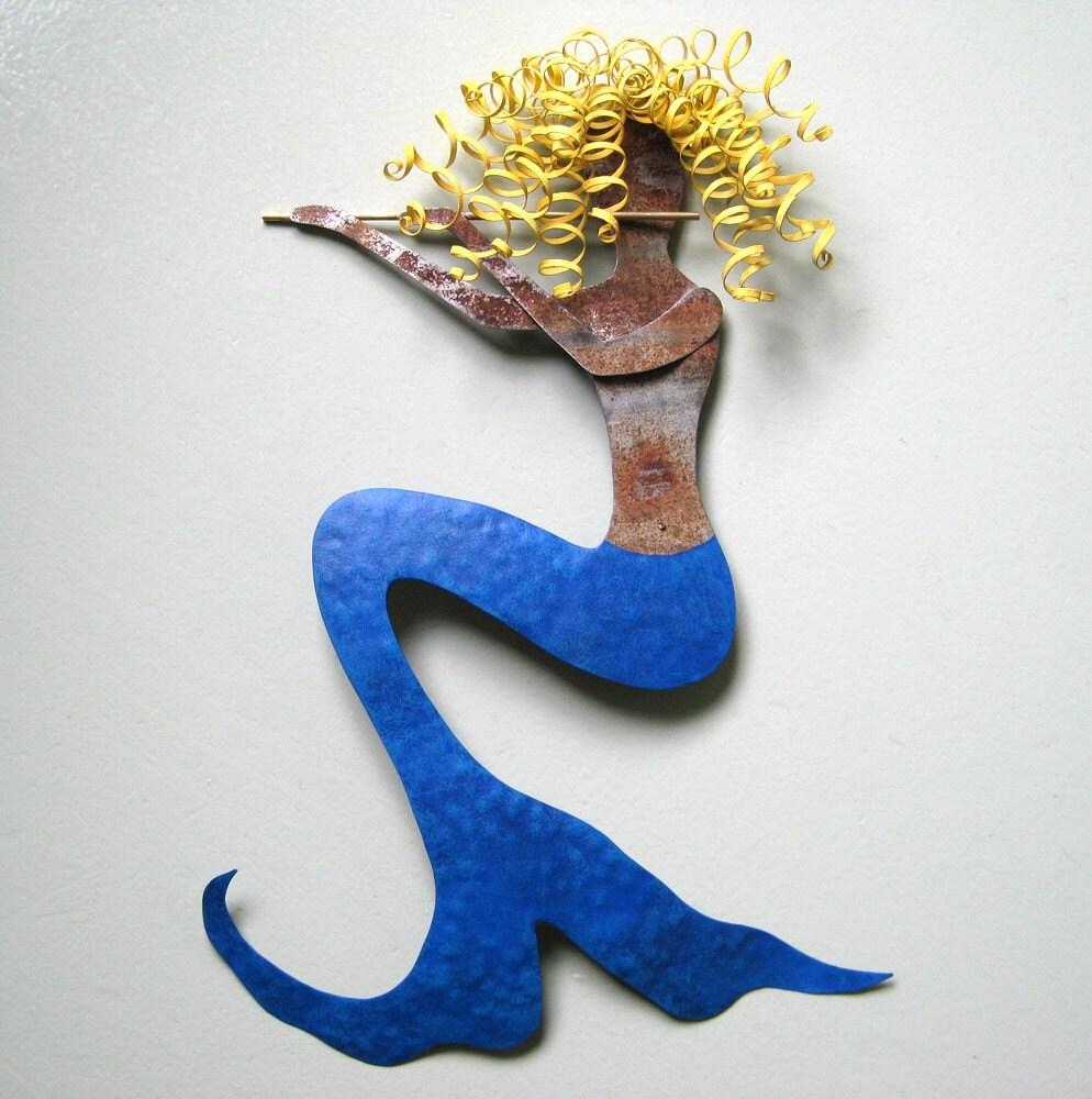 Mermaid With Flute Penelope Handmade Metal Wall Sculpture