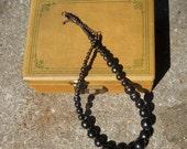 Simple Black Wooden Bead Necklace Ethnic Fair Trade Vintage