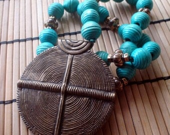Turquoise bead and bronze India pendant Necklace