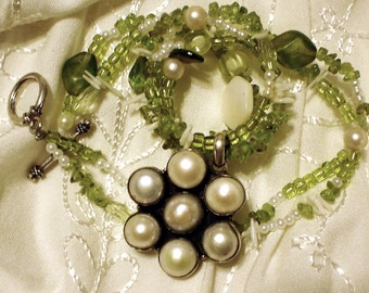 SALE Fair Trade Pearl and Bright Green Peridot Mermaid Necklace