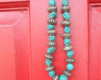 Nepalese Turquoise Stone Beads with Silver Ethnic Indian Beads Necklace