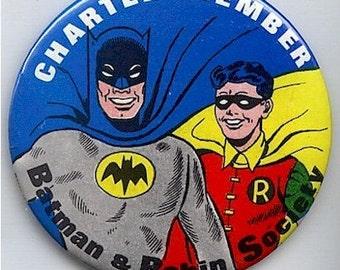 Original 1966 BATMAN 'n ROBIN Charter Member 3.5 Inch Pin