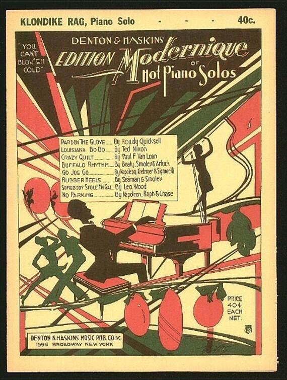 1928 Art Deco Sheet Music Modernique Jazz Piano