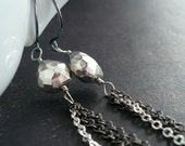Sterling Silver and Gunmetal Earrings - Opposes