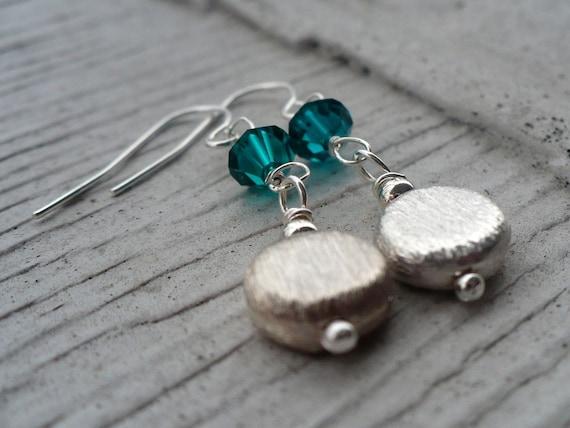 YART SALE - Elodie - Swarovski crystal and brushed silver earrings