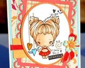 Sparkle Girl Handmade Greeting Card