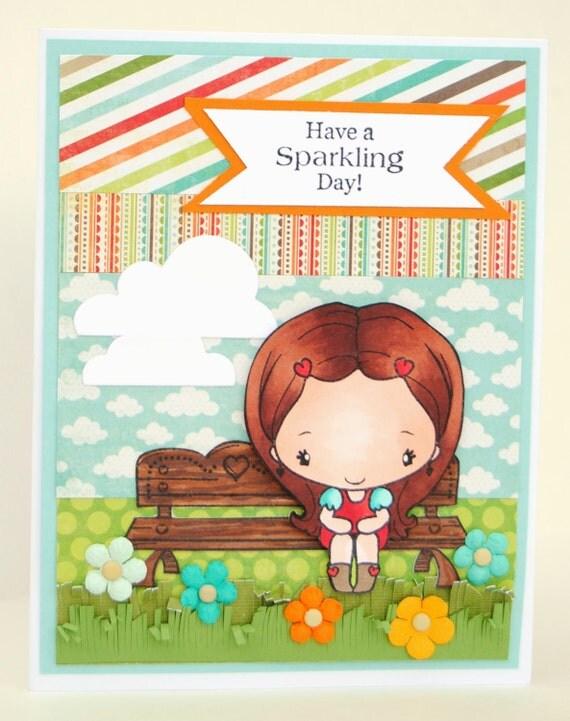 Anya on Bench Handmade Greeting Card
