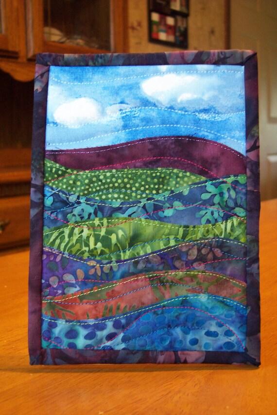 Landscape Art Quilt Batik Fabrics Egglant Purple Blue