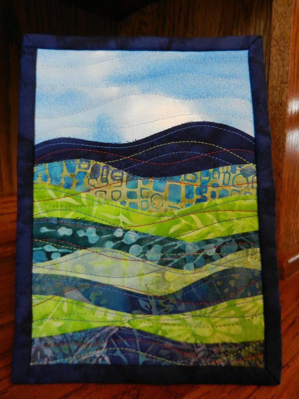 Landscape Quilt Patterns Kits : Landscape Art Quilt Mini Batik Fabric Art displayed on 5 x