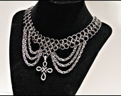 Elegant Celtic Cross Stainless Steel Chainmail Chainmaille choker necklace