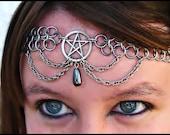 Pentacle Chainmail headband choker Pentagram Natural Hematite  chainmaille crown