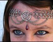 Pentacle Chainmail headband/choker Pentagram Amethyst purple Crystal chainmaille crown