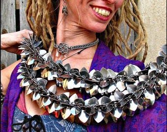 Stainless Steel Silver Scale Mail feather Boa Scarf Steampunk Dragon Scale Goth Fabulous