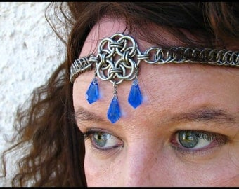 The Aurora Sapphire Blue Celtic chainmail headband/choker necklace chainmaille crown