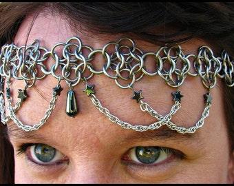 The Hematite Star Flowerette chainmail headband/choker  crown