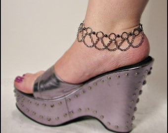 Crystal and drape stainless steel  Bellydance Anklet Natural Hematite
