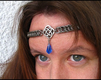 The Sapphire Blue Celtic chainmail headband/choker chain maille knot crown