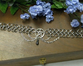 Pagan Pentacle Chain mail Headband Choker  Hematite stainless steel tiara