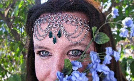 Emerald Crystal Chainmail Headband/Choker necklace chain mail crown