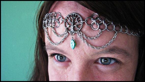 Tree of life chainmail headband/choker Pagan Nature Green Glass Leaf