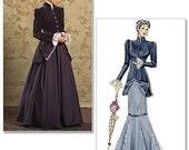 Steampunk Victorian Historical Pattern Coat 2 Skirts Mermaid Skirt Full Skirt Sz 8 10 12 14